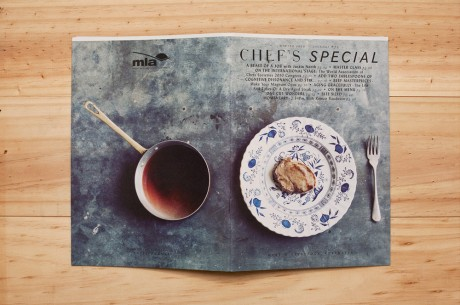 Brochure, front cover, meat, plate, photography, chef, special, mash, design, layout, typography