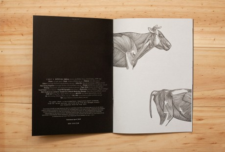 Brochure, front cover, meat, plate, cow, illustration, chef, special, mash, design, layout, typography