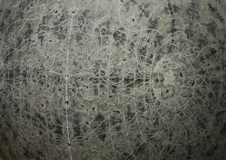 carol prusa, dome, sphere, acrylic, silverpoint, silver, silver leaf, meticulous, detail, universe, world, conceptual,