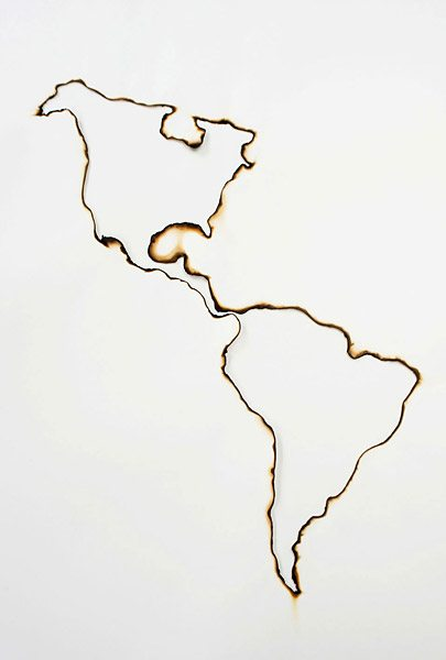 kate mccgwire, south america, map, burned, paper, burnt, burn, fire, detail, layers
