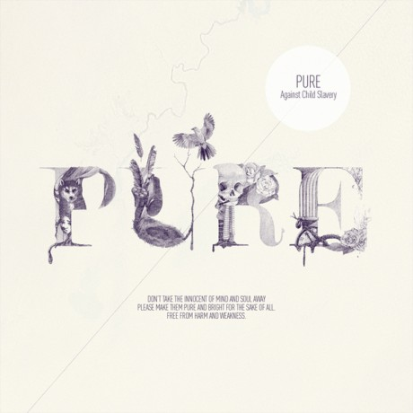 pure, typography, purple, illustrated, hand made, rendered, experimental, child slavery, campaign