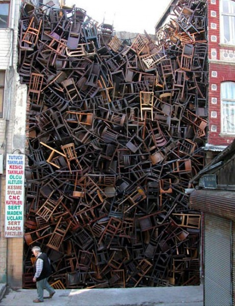 doris, salcedo, chairs, stacked, between, two, buildings, installation, art, sculpture