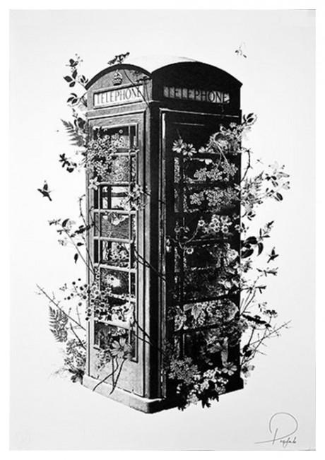 phone box, illustration, overgrown, hedge, bush, phone, drawing, pencil, detailed