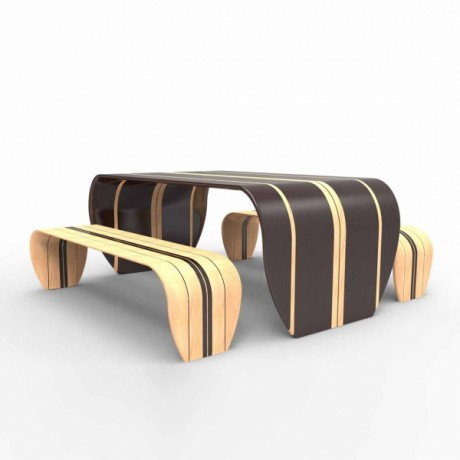 bench, chairs, table, surfing, surf board, wood