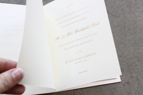 sideshow press, invitation, wedding invitation, wedding invite, gold letterpress, letterpress, gold type, typography, script font, script typography, lined envelopes, floral envelopes, bespoke, unique, bespoke envelopes