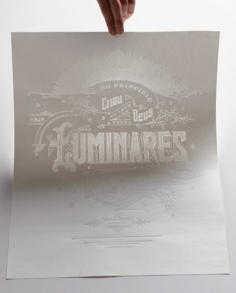luminares, kevin cantrell, poster, blind hot stamped, gold foil, graphic design, typography