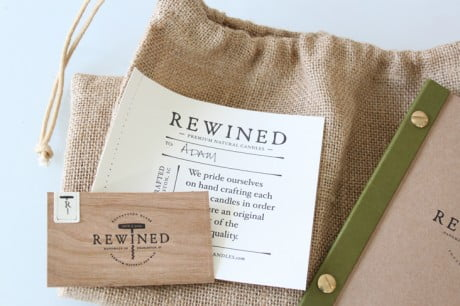 rewined, design stitch co., branding, identity, packaging, candles, logo