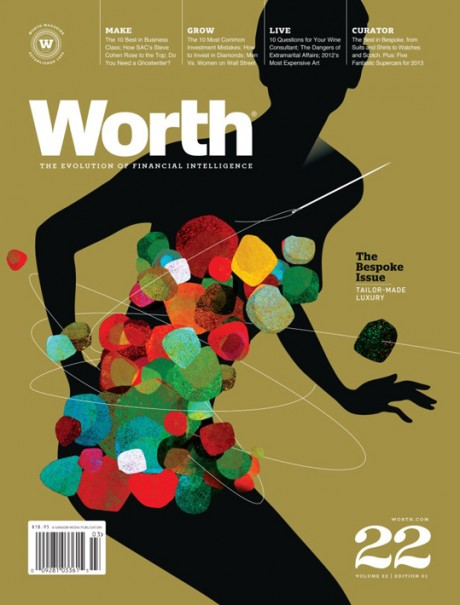 The Bespoke Issue, Worth, magazine, magazine cover, layout, graphic design, illustration