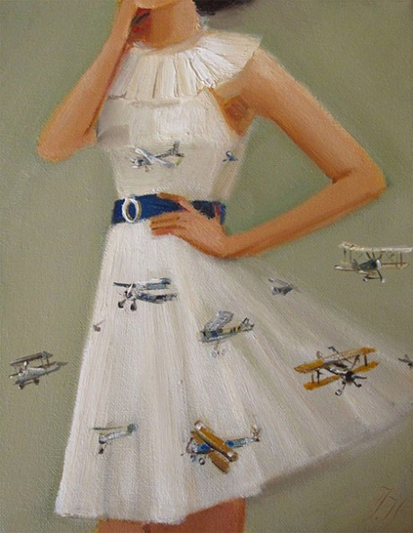 Fly The Friendly Skies Dress, painting, oil, fashion, painter, Janet Hill