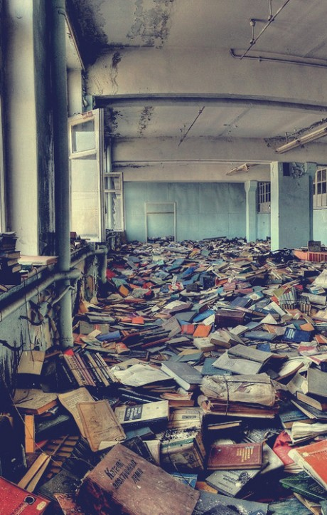 abandoned russian library, books, library, photography