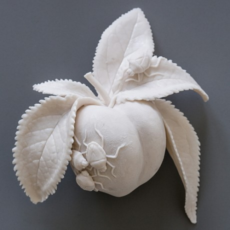 Mutiny on the Bounty, Kate MacDowell, handbuilt porcelain, porcelain, ceramic, fruit, flowers