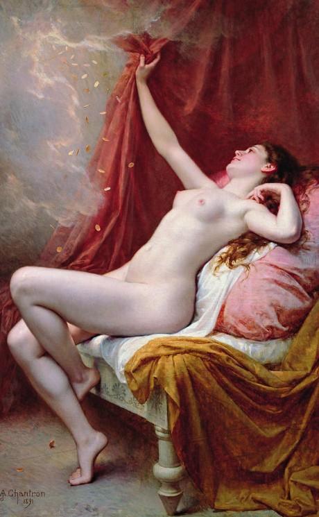 Danae, Alexandre-Jacques Chantron, 1891, art, oil painting, painting, nude