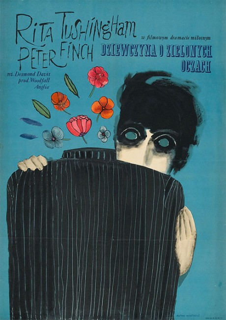 film poster, film, movie poster, illustration, typography, script, handwriting, 1967 Polish poster, 1964, movie, GIRL WITH GREEN EYES, director, Desmond Davis, UK