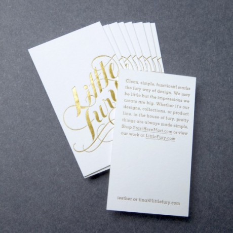 little fury, business card, gold foil, business card design, graphic design, branding, logo, identity