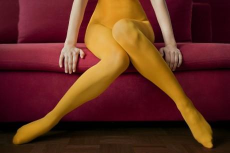 Andrea Hubner, tights, mustard yellow, legs,