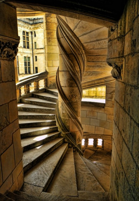 Chateau de Chambord, france, architecture, interior, stairs, stairway