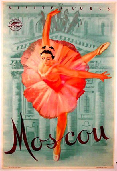ballet, ballet poster, vintage ballet poster, illustration, moscow ballet