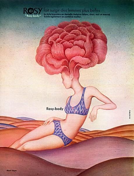 illustration, Clement Despres, Rosy Lingerie, 1970, advertising, campaign, underwear, lingerie
