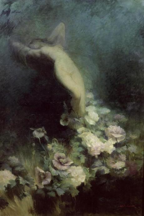 Les Fleurs du Sommeil, Achille Theodore, artist, oil painting, art, nude, flowers