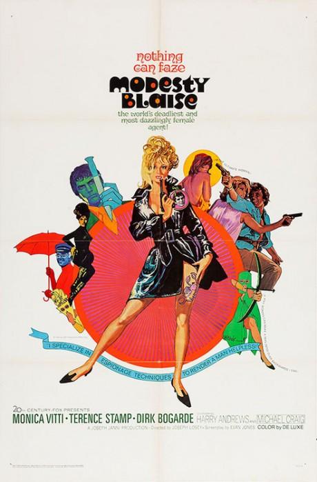 film, film poster, movie poster, kitsch, 60s, MODESTY BLAISE, Joseph Losey, UK, 1966, Artist, illustration, Bob Peak, 1927-1992