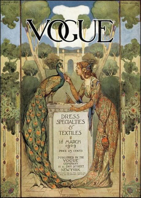 vogue, cover, magazine, magazine cover, march 1909, 1909, illustration, peacock, fashion