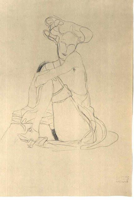 Gustav Klimt, rare sketch, gustav klimt rare sketch, sketch, drawing, illustration
