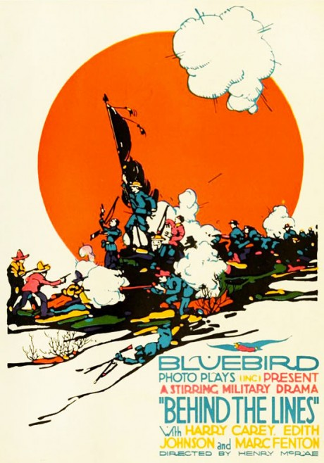 bluebird, film, photoplay, poster, movie poster, film poster, silent, silent movie, illustration, behind the lines