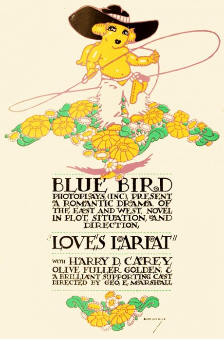 bluebird, film, photoplay, poster, movie poster, film poster, silent, silent movie, illustration, love's lariat