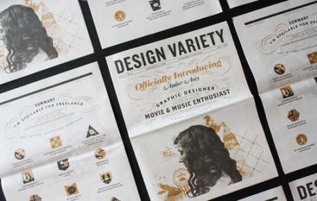 Amber Asay, design variety, cv, student work, newspaper, portfolio, personality
