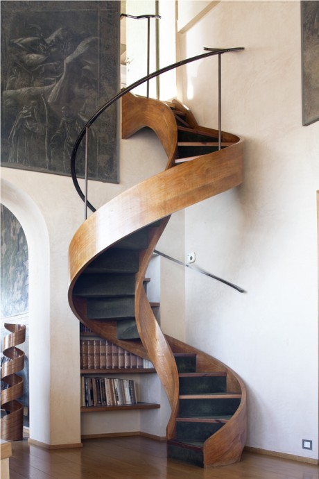 stairway, interior, interior architecture, stairs, wood, peter dundas, home, fabien breuil, photographer