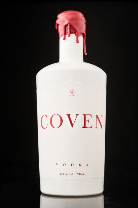 Hired Guns Creative, Coven Vodka, product name, branding, identity, logo, arbutus distillery, vancouver island, spirit, alcohol, bottle design, glow in the dark, wax, die-cut, label, embossing, red foil, foiling, foil blocking,