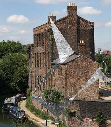 Felice Varini, Across The Buildings, vinyl, St Martin's, London, England,