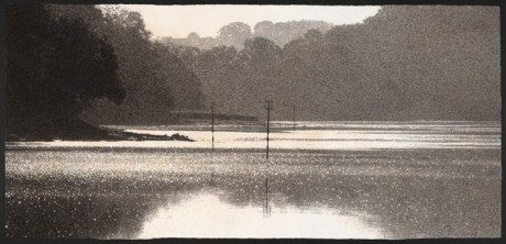 'TUCKENHAY CREEK', CHARCOAL AND WATERCOLOUR ON ARCHES PAPER, 46 X 99CM, sarah gillespie, drawing, painting