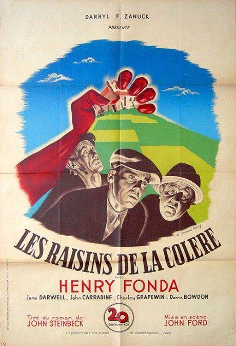 film, movie poster, film poster, French, poster, THE GRAPES OF WRATH, John Ford, USA, 1940, Designer, illustrator, illustration, Bernard Lancy, 1892-1964