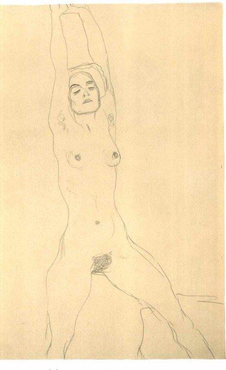 Gustav Klimt, Akt von vorne mit erhobenen Armen, sketch, illustration, art, vienna, nude, life drawing