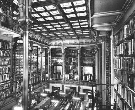 Interior, Public Library of Cincinnati, 1874, books, library, cincinnati, USA