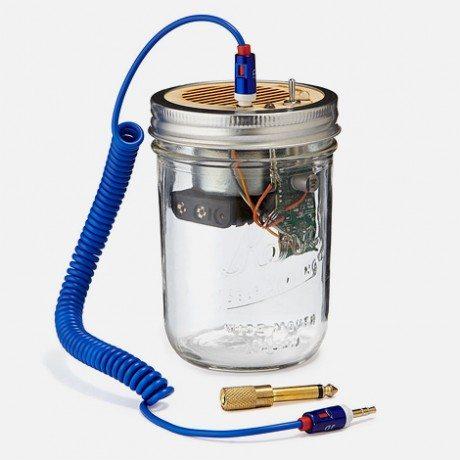 upcycled, mason jar portable speaker, amplifier, Uncommon Goods, audio, loudspeaker, speaker, glass, music, sound