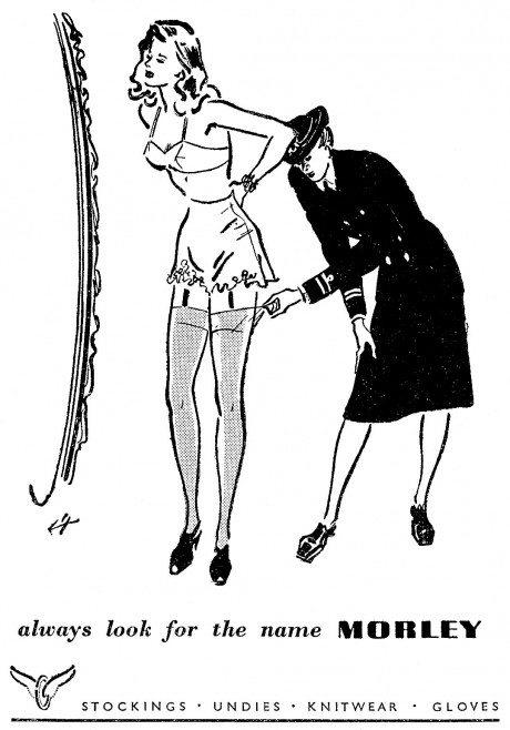 1951, Morley Stockings, advertising, detail], illustration, stockings, lingerie