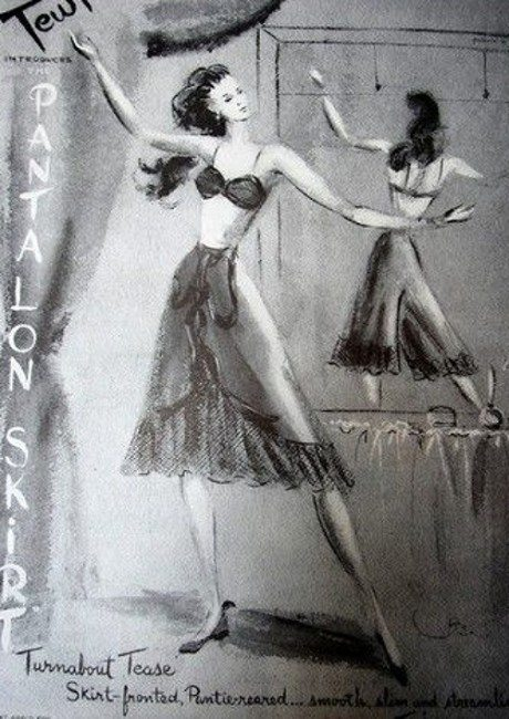 Tewi, Lingerie Advertisement, 1947, illustration, underwear, advertising, nostalgia, vintage