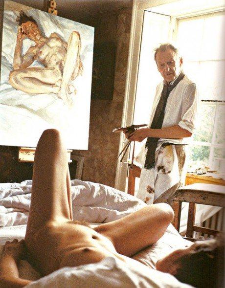 Lucian Freud, painter, portrait, portraitist, artist, model, snapshot, Kate Moss