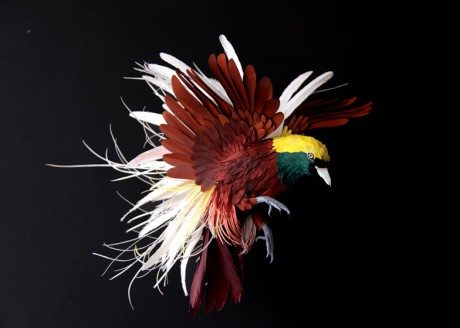 paper birds, Diana Beltran Herrera, wire legs, tail, wings, birds, sculpture, paper sculpture, floral tape