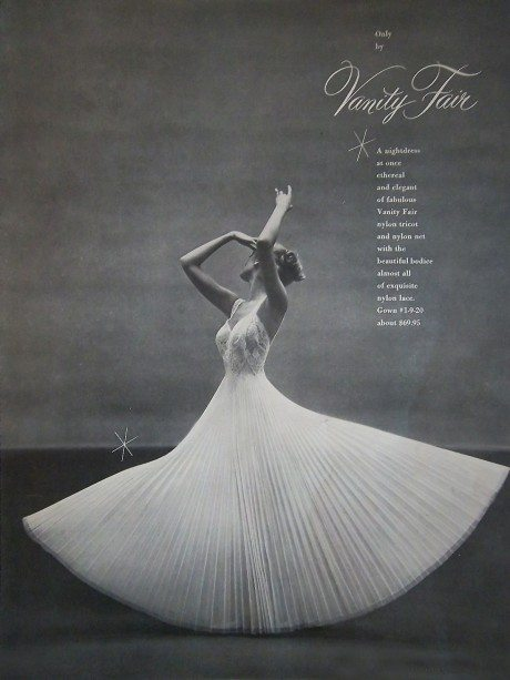 nightdress, lingerie, fashion, pretty, vanity fair, 1952, advertising
