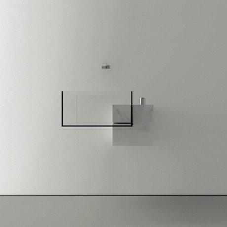 KUB sink, Victor Vasilev, designer, interiors, glass, marble, transparent, bowl.