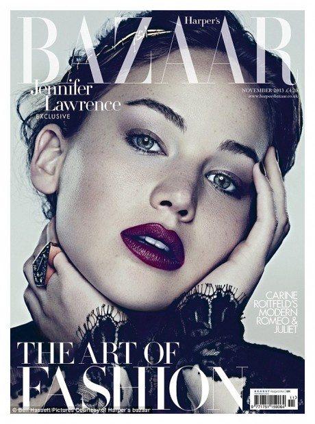 UK, Harper's Bazaar, November 2013, Cover, Jennifer Lawrence, photography, fashion, magazine, magazine cover, Ben Hassett
