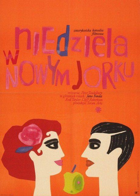Polish, film, movie poster, film poster, illustration, poster, Sunday In New York, director, Peter Tewksbury, USA, 1963, Jane Fonda, Rod Taylor, Cliff Robertson