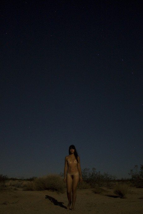 Angela Delaagua, self-portrait, naked, nude, pubic hair, desert, night, photography