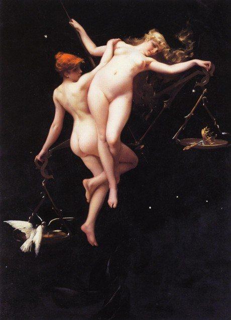 la balance du zodiaque, painting, oil painting, artist, luis ricardo valero, art, nude, sexual,