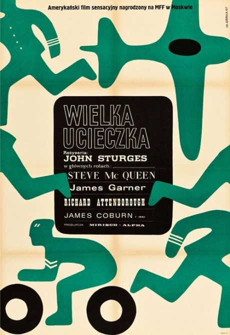 1967, Polish, poster, film, film poster, movie poster, THE GREAT ESCAPE, John Sturges, USA, UK, 1963, Designer, illustrator, illustration, Wiktor Górka, 1922-2004