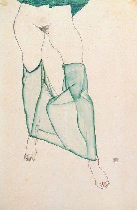 Egon Schiele, Weiblicher Torso mit grüner Draperie, 1913, sketch, nude, pubes, pubic hair, illustration, vienna, artist