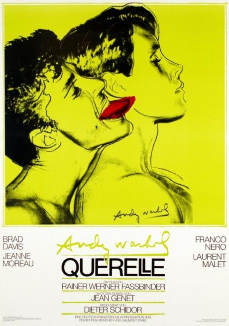 Andy Warhol, poster, design, Rainer Werber Fassbinder, director, film, film poster, movie poster, 1982, movie, Querelle,  Jean Genet, book, gay, queer, homosexual, Two Loves, Leslie-Lohman Museum of Gay and Lesbian Art, Andy Warhol, Sex Parts series, 1978